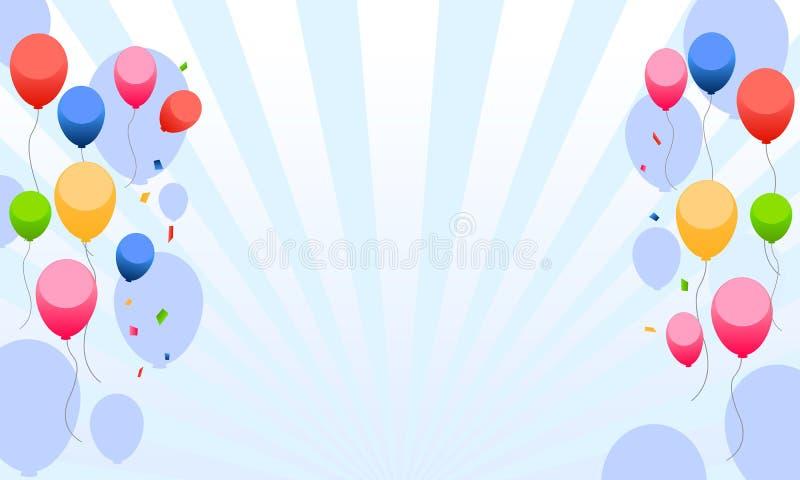 De partij van jonge geitjes met ballonsachtergrond stock illustratie