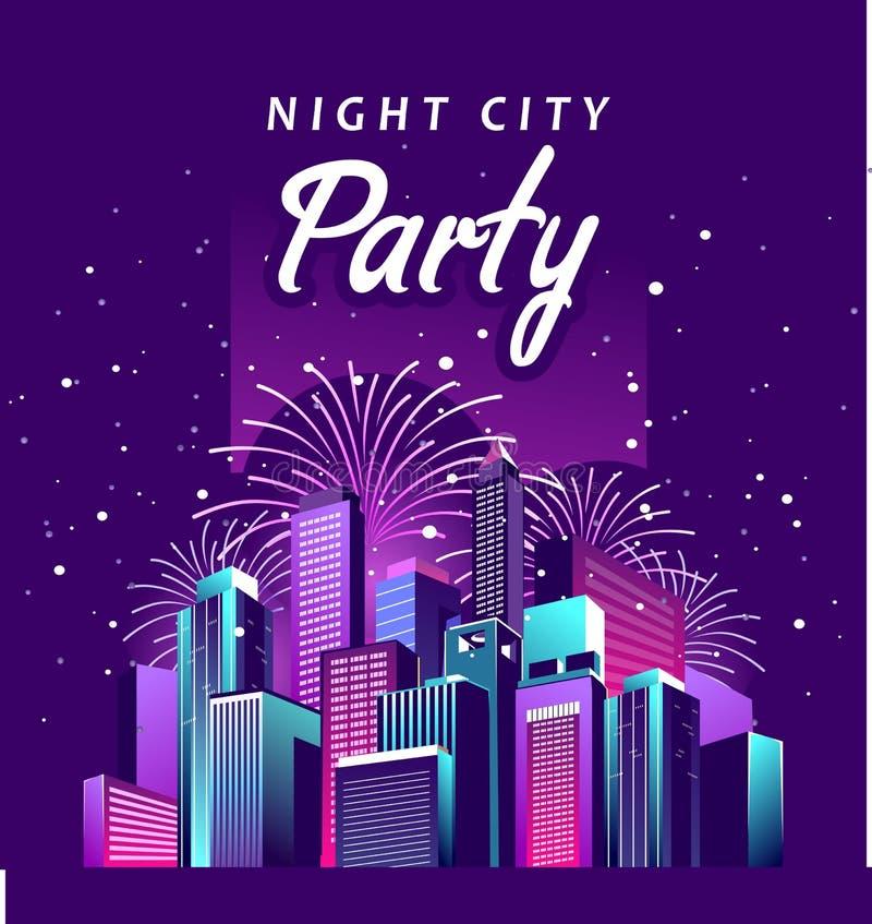 De partij van de nachtstad royalty-vrije illustratie