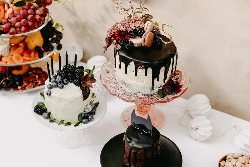 De partij van de ontwerpverjaardag openlucht met baloons en de cake van de druppelchocolade royalty-vrije stock afbeeldingen
