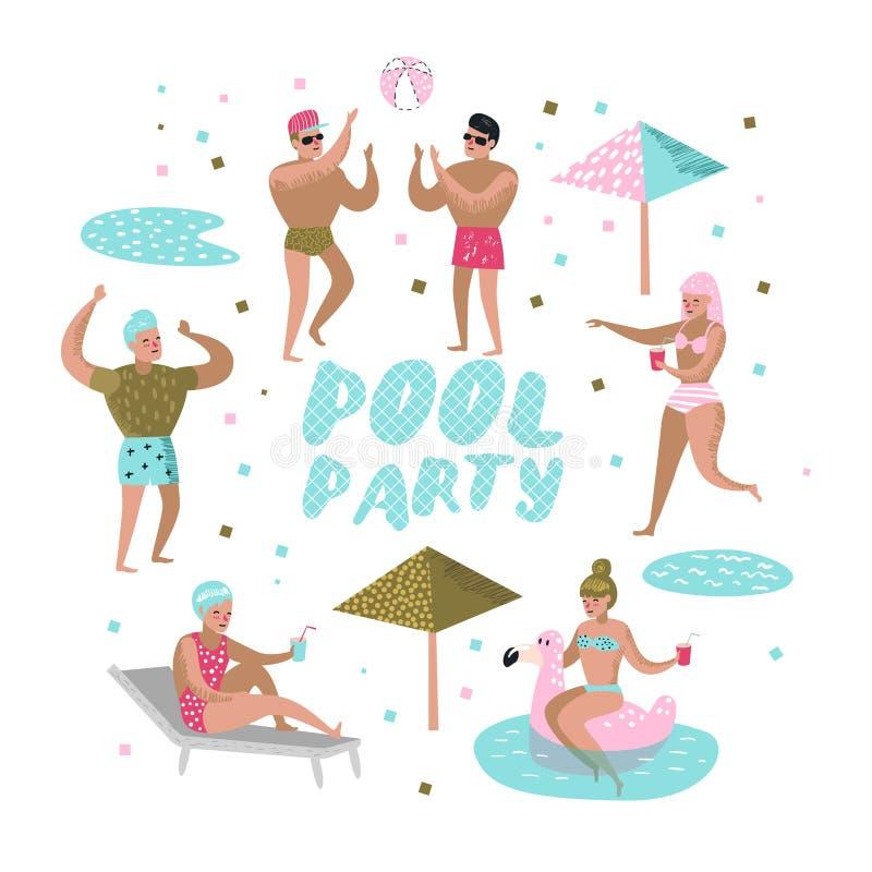 De partij van de pool Karaktersmensen Zwemmen, die heeft Pret in de Pool ontspannen Zomervakantie bij Strandtoevlucht stock illustratie