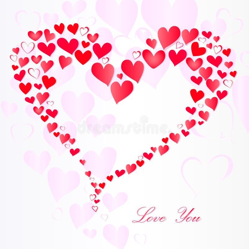De partij van roze harten in hartvorm en houdt van u tekst op een witte achtergrond, roze schaduw, vierkant vector illustratie