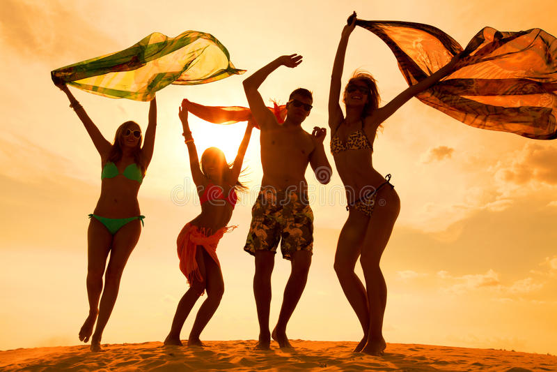 De partij van strandtienerjaren stock afbeelding