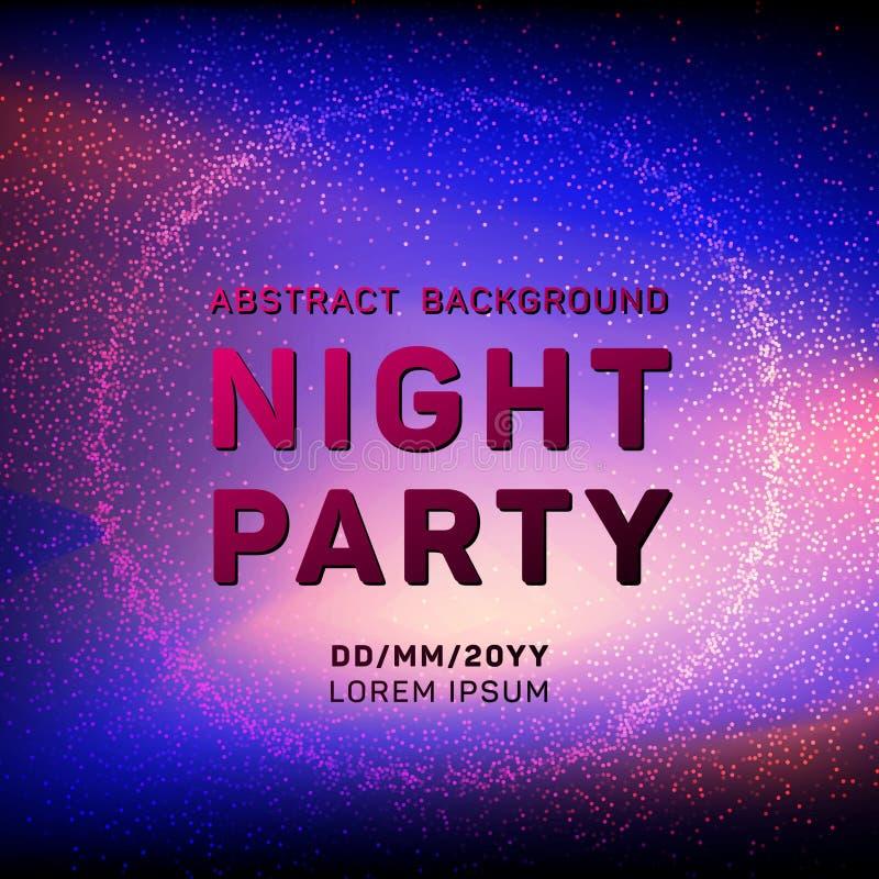 De partij vectormalplaatje van de disconacht met vliegende deeltjesachtergrond voor de vliegers, de banners en de affiches van de vector illustratie