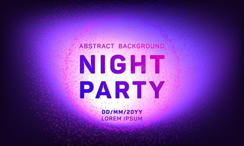 De partij vectormalplaatje van de disconacht met vliegende deeltjesachtergrond voor de vliegers van de muziekgebeurtenis, affiche stock illustratie