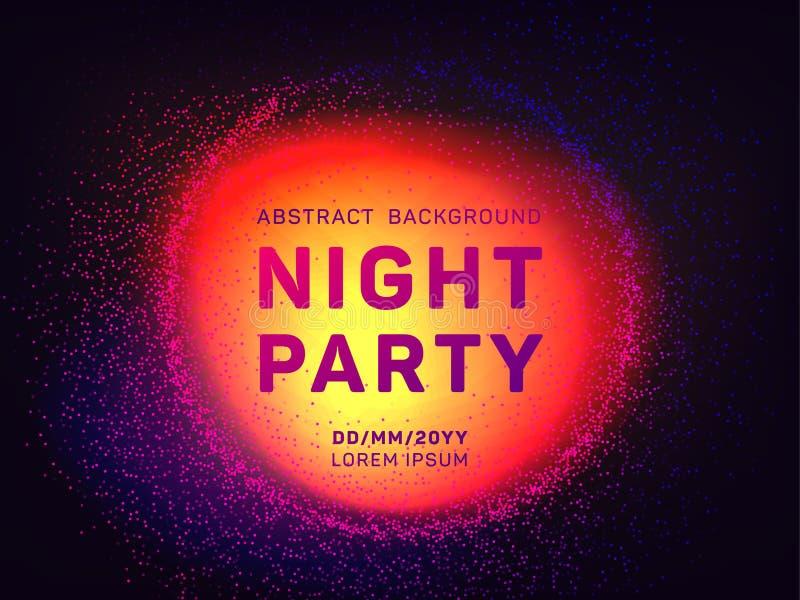 De partij vectormalplaatje van de disconacht met vliegende deeltjesachtergrond voor de vliegers van de muziekgebeurtenis royalty-vrije illustratie