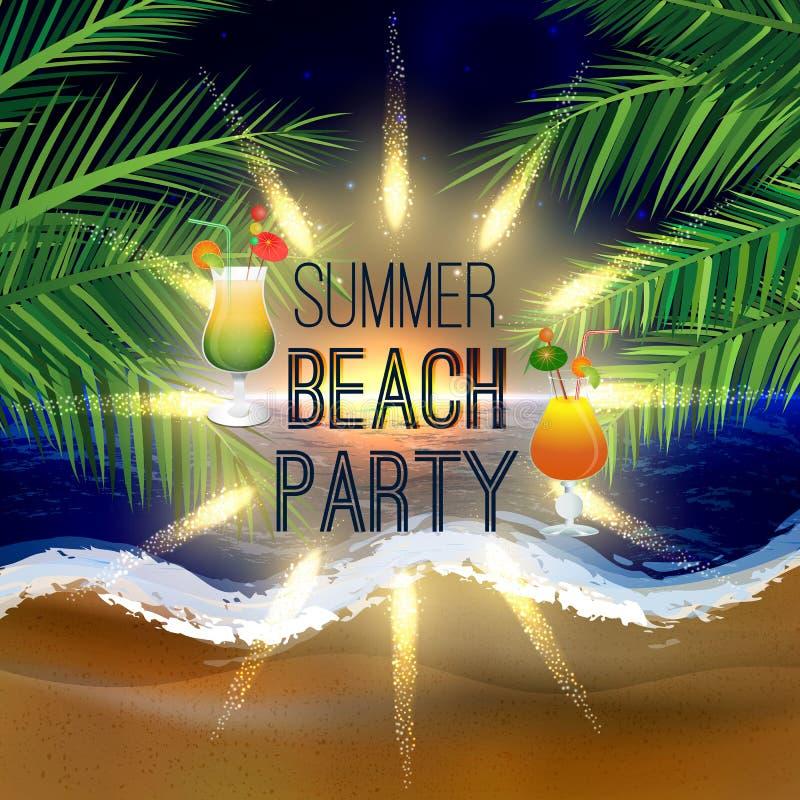 De partijachtergrond van het de zomerstrand met palmbladen en ijzige cocktailglazen royalty-vrije illustratie