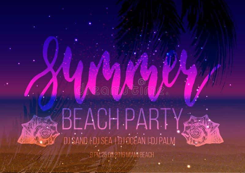 De partijaffiche van de de zomernacht, vliegermalplaatje royalty-vrije illustratie