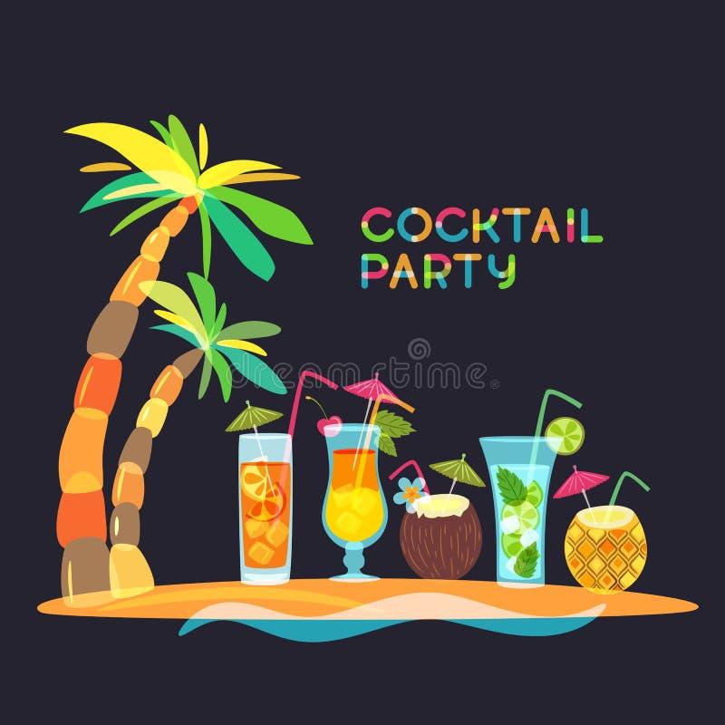 De partijconcept van het cocktailstrand, krabbelillustratie Tropisch eiland met cocktails, sap en palm royalty-vrije illustratie
