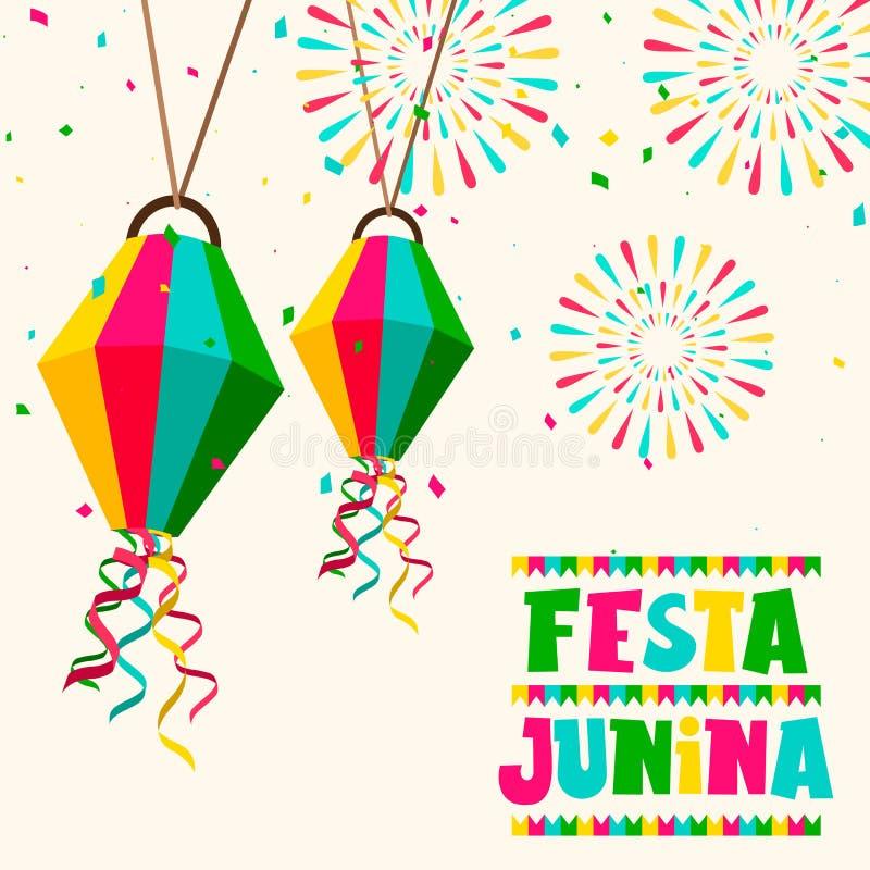 De partijkaart van Festajunina van ballons en vuurwerk vector illustratie