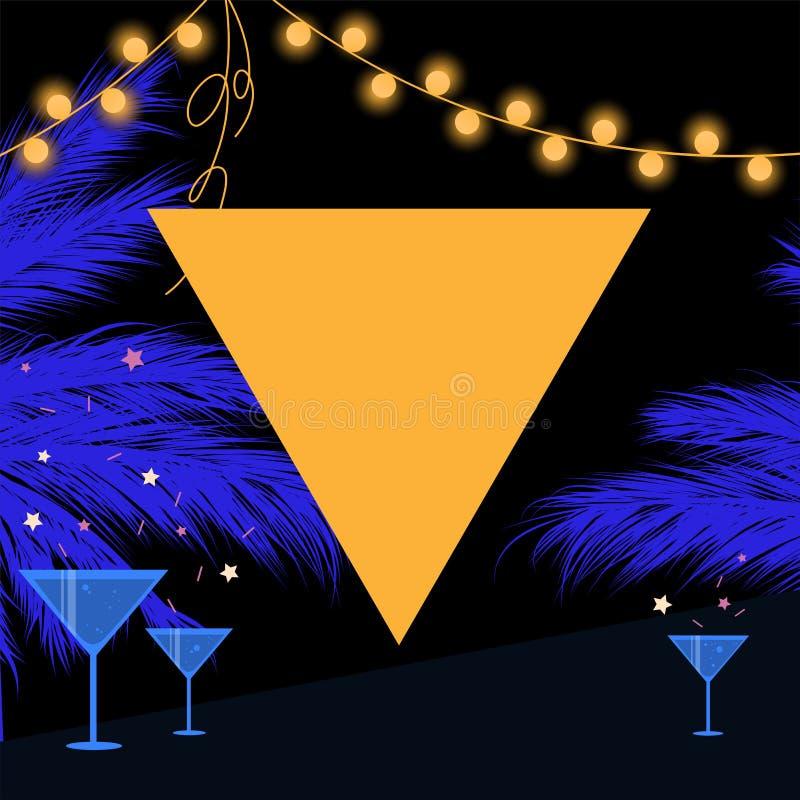 De partijkaart van de Synthwavezomer met driehoek, slinger en palm royalty-vrije illustratie