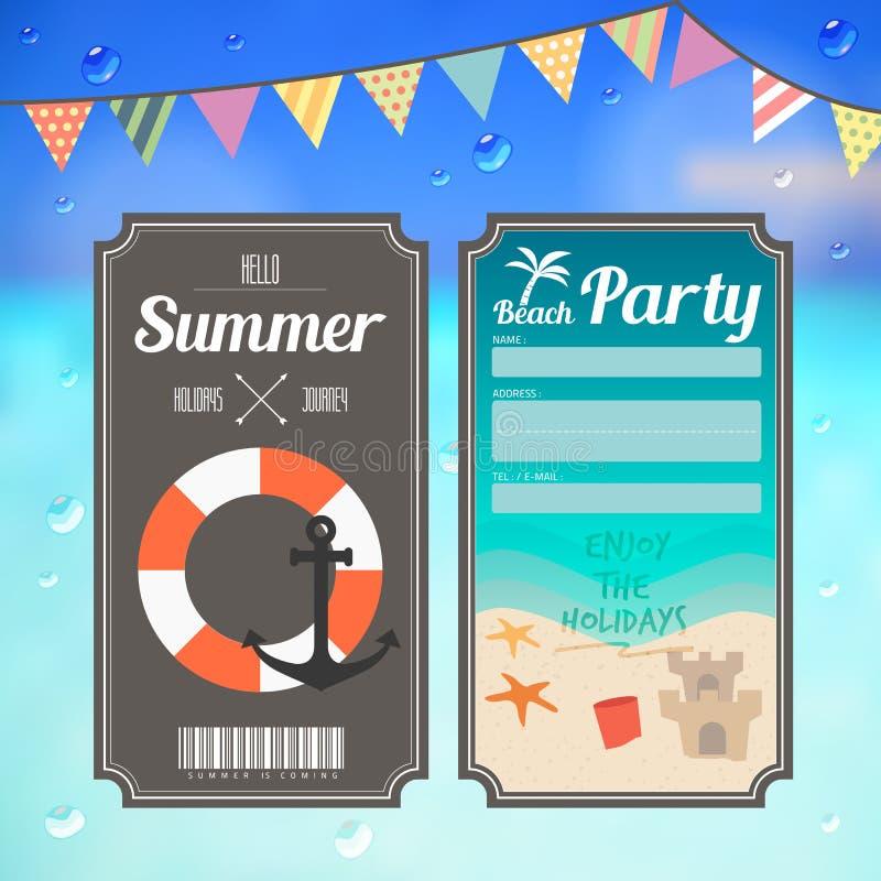 De partijkaartje van het de zomerstrand op overzeese achtergrond stock illustratie