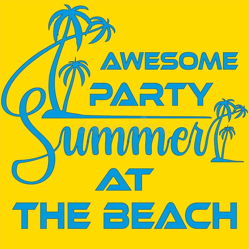 De Partijmalplaatje van het de zomerstrand, Banner of Vliegerontwerp met illustratie van palmen vector illustratie