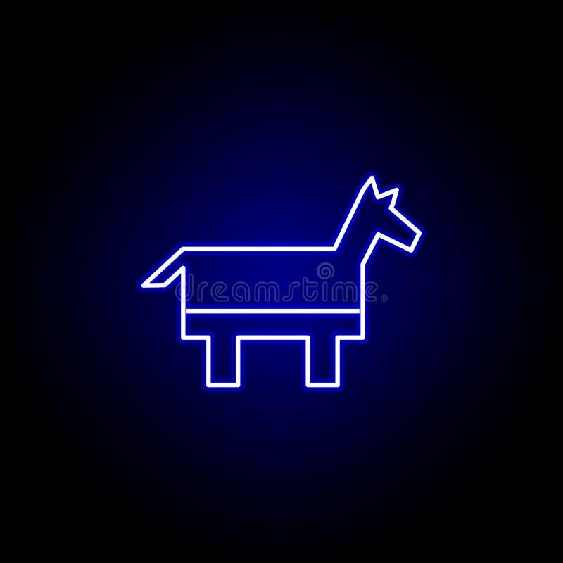 De partijpictogram van de verkiezingendemocraat in neonstijl De tekens en de symbolen kunnen voor Web, embleem, mobiele toepassin stock illustratie
