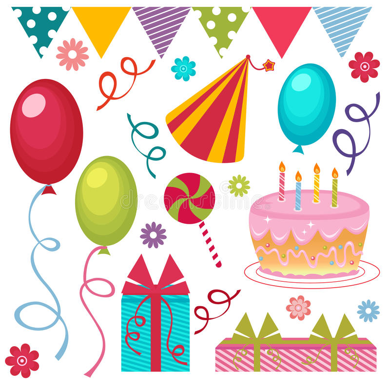 De partijreeks van de verjaardag stock illustratie