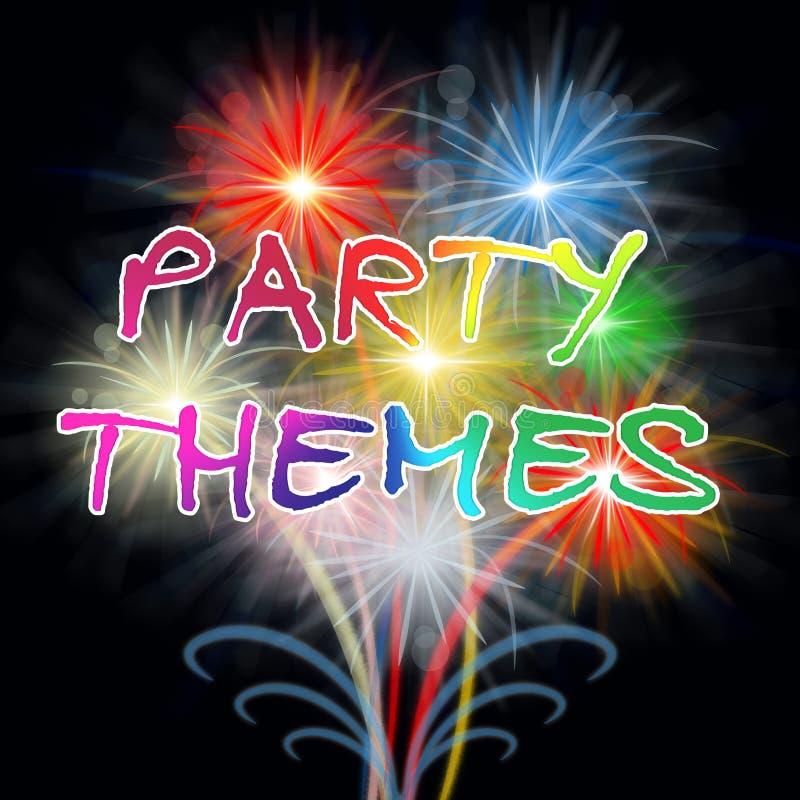 De partijthema's wijst Vierings op Ideeën en Festiviteit vector illustratie