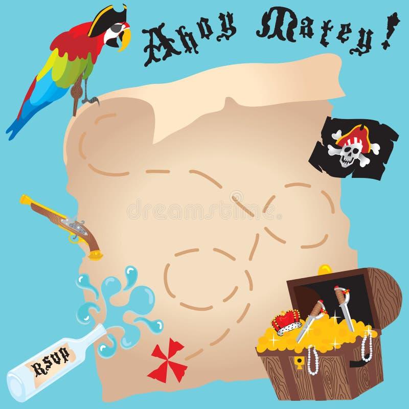 De partijuitnodiging van de piraat stock illustratie