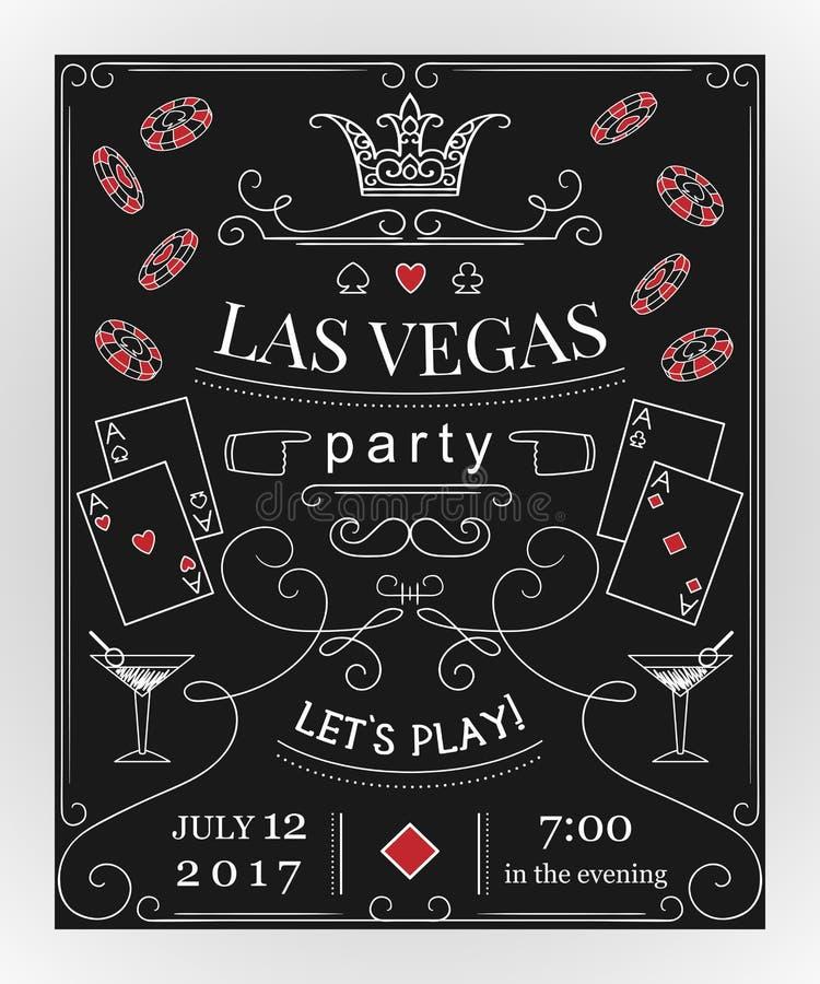 De partijuitnodiging van Las Vegas op bord met decoratieve elementen stock illustratie