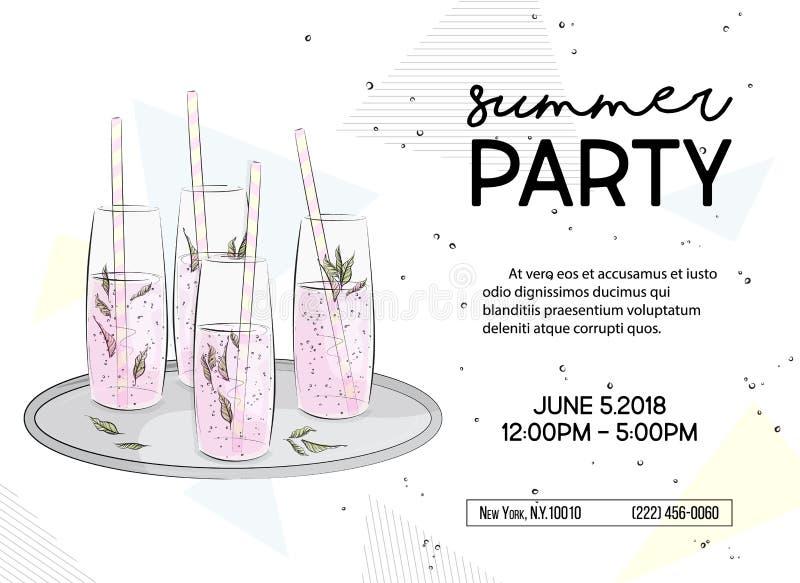De partijuitnodiging van de de zomertijd De drankenaffiche van de alcoholfonkeling, Vakantie vibes grafiek Groetkaart met klassen vector illustratie