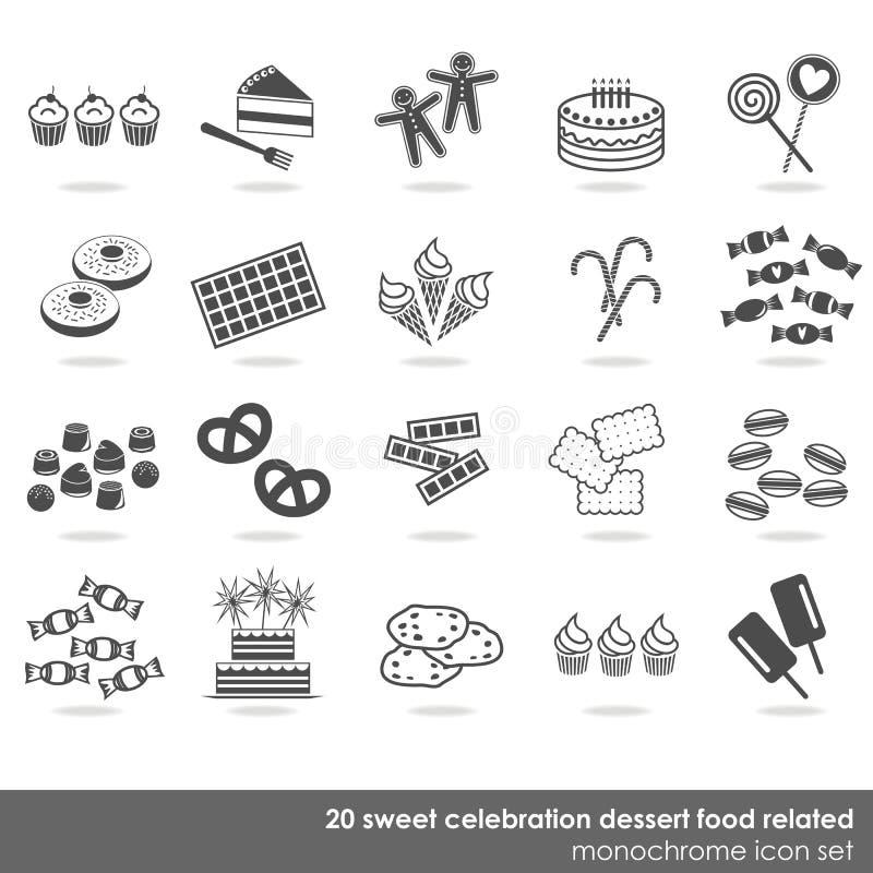 De partijviering 20 van het snoepjesvoedsel pictogramreeks stock illustratie