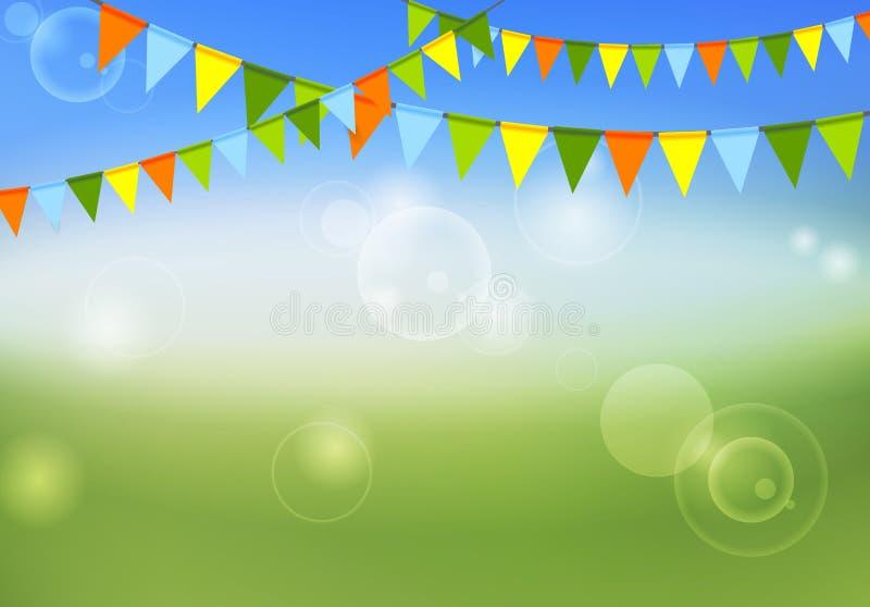 De partijvlaggen vieren abstracte kleuren als achtergrond en de zomer royalty-vrije illustratie