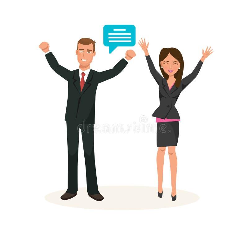 De partners in strikte kleding, verheugen zich succes in het werk, financiële positie royalty-vrije illustratie