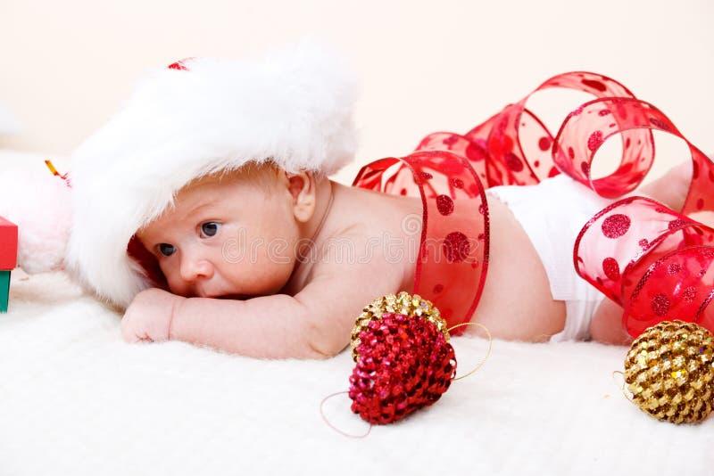 De pasgeboren baby van Kerstmis stock foto