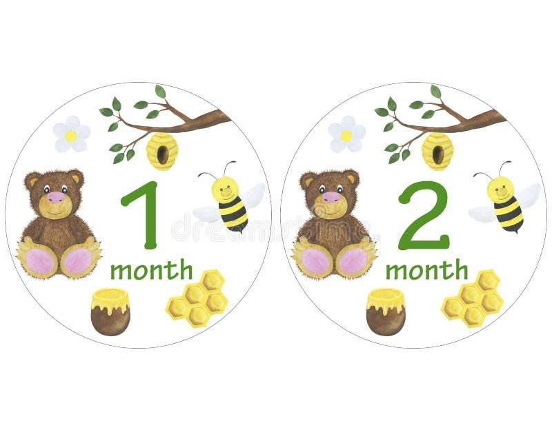 De pasgeboren babystickers voor de zitting van de de illustratiefoto van de maandenwaterverf ontwerpen stickers die de uitnodigin stock illustratie