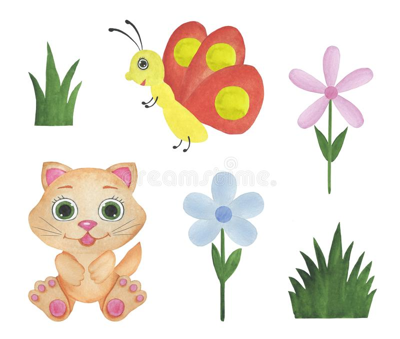 De pasgeboren babystickers voor de zitting van de de illustratiesfoto van de maandenwaterverf ontwerpen stickers die de uitnodigi royalty-vrije illustratie