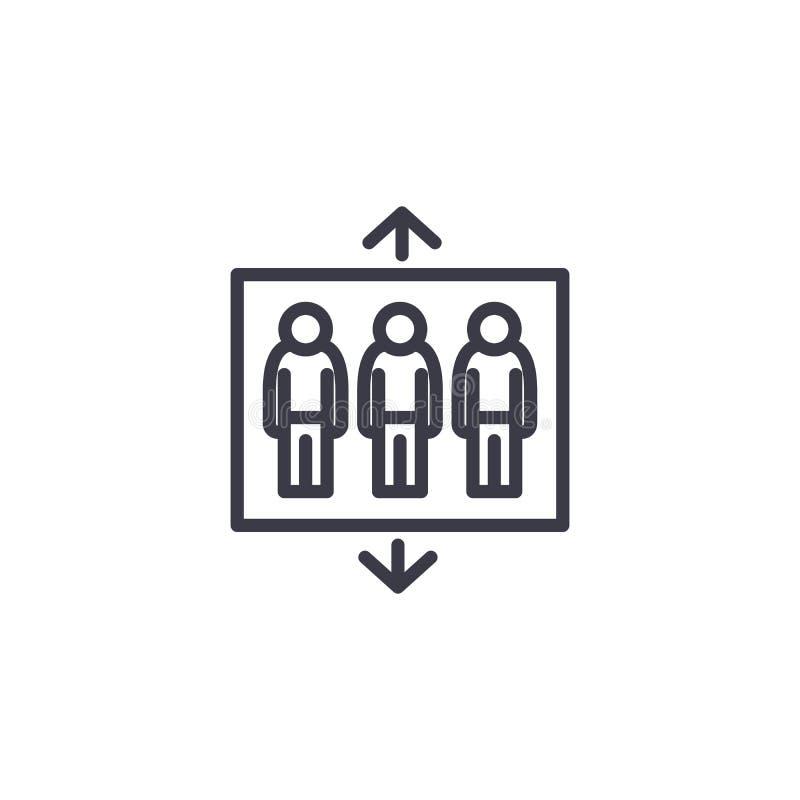 De passagiersbouw concept van het lift het lineaire pictogram De passagiersbouw het vectorteken van de liftlijn, symbool, illustr vector illustratie