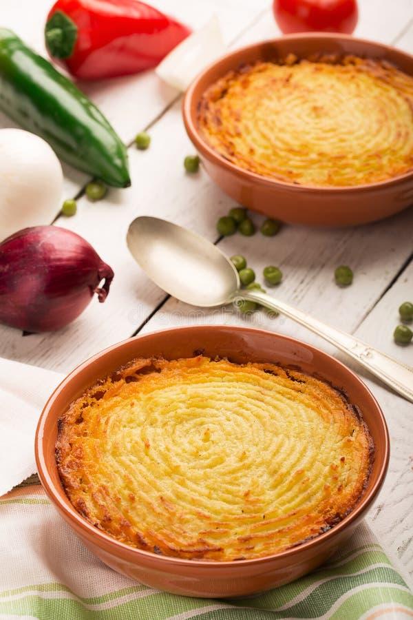 De pastei van de herder met aardappel royalty-vrije stock foto