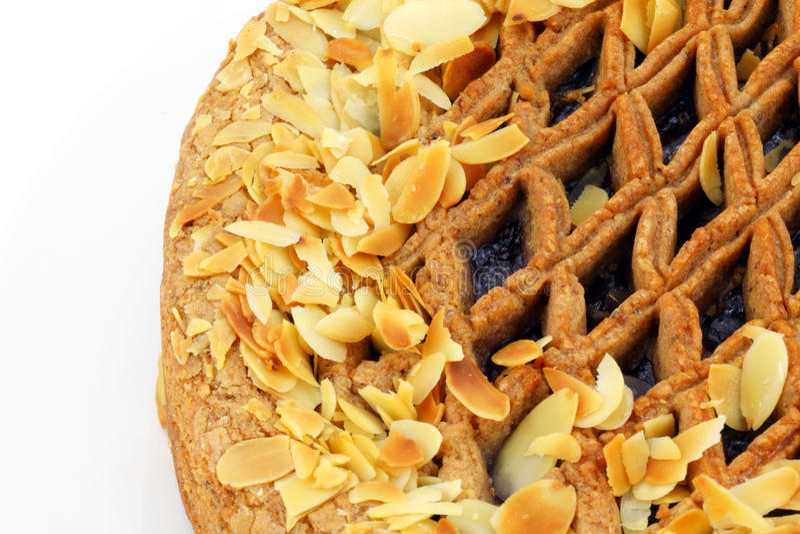 De pastei van Linzer torte met amandelendetail royalty-vrije stock foto's