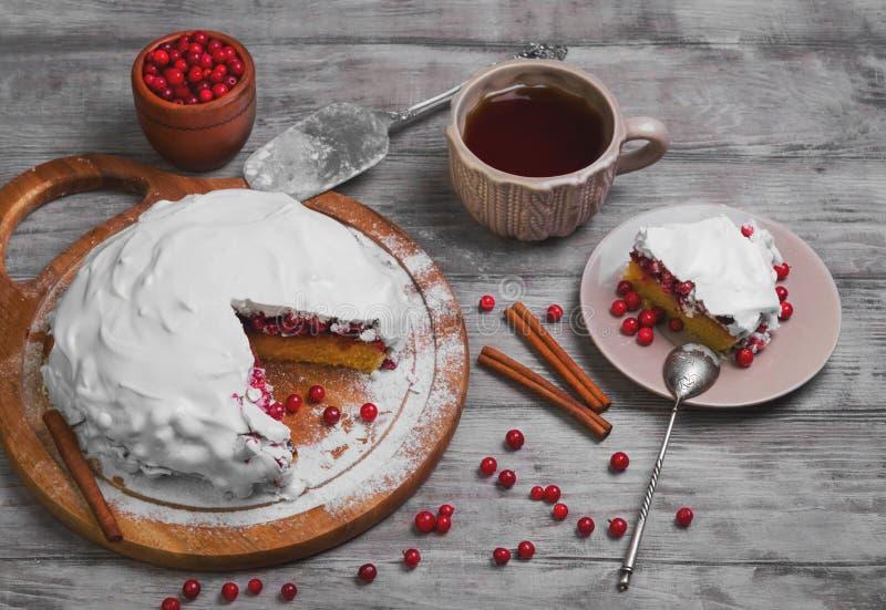 De pasteicake van de Kerstmiswinter met rode bessenamerikaanse veenbessen stock afbeeldingen