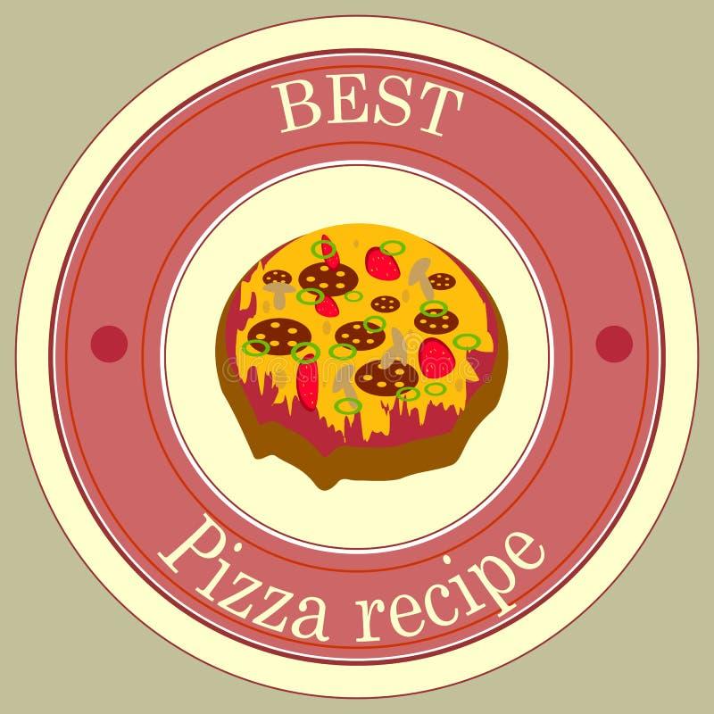 De pasteirecept van de sticker beste pizza stock foto