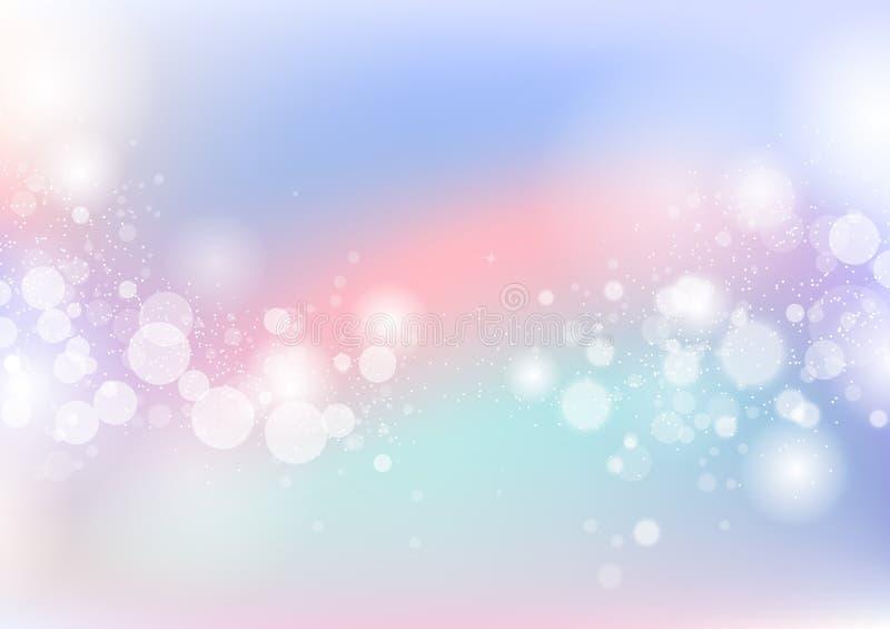 De pastelkleur, de abstracte achtergrond van Bokeh van de sterrenflikkering, het stof en korrelverspreiding het knipperen de ondu royalty-vrije illustratie
