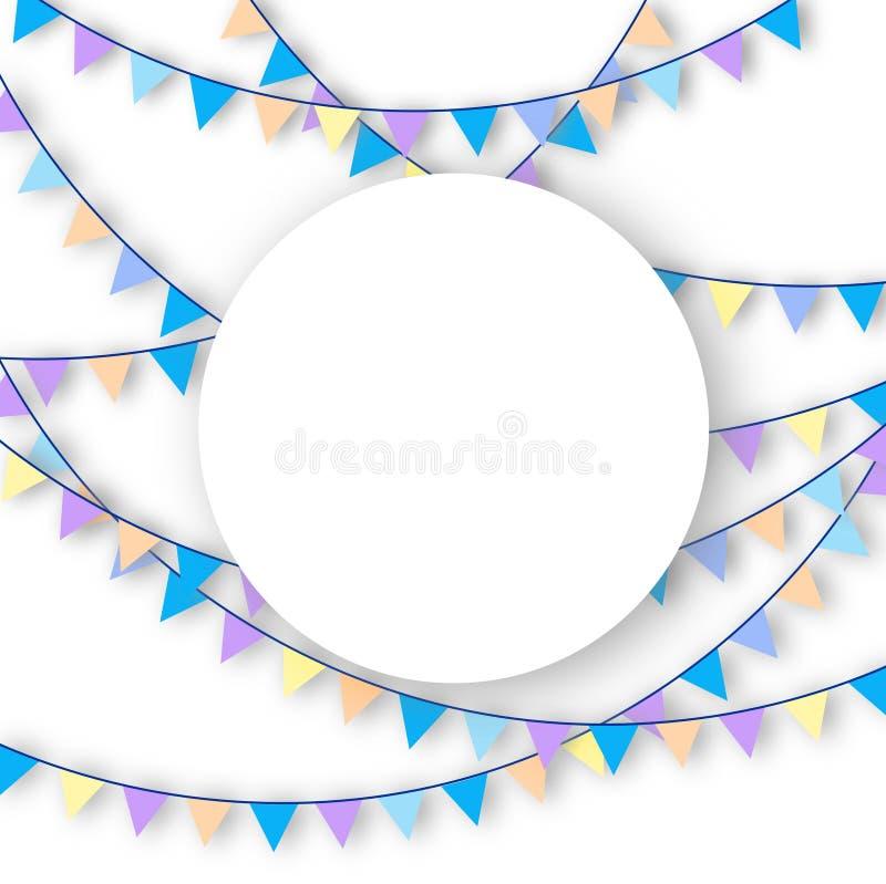 De pastelkleur gekleurde achtergrond van de slingerviering met exemplaarruimte stock illustratie