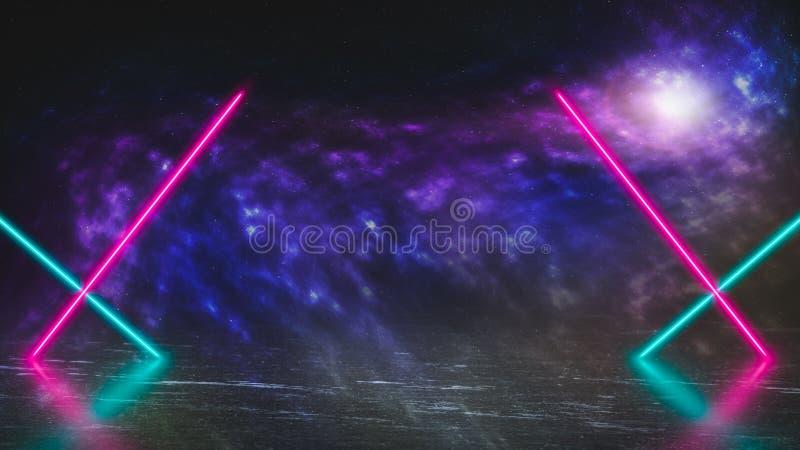 De pastelkleur gekleurde lichten van de neonlaser op vreemde planeet van ijs en mist stock afbeeldingen