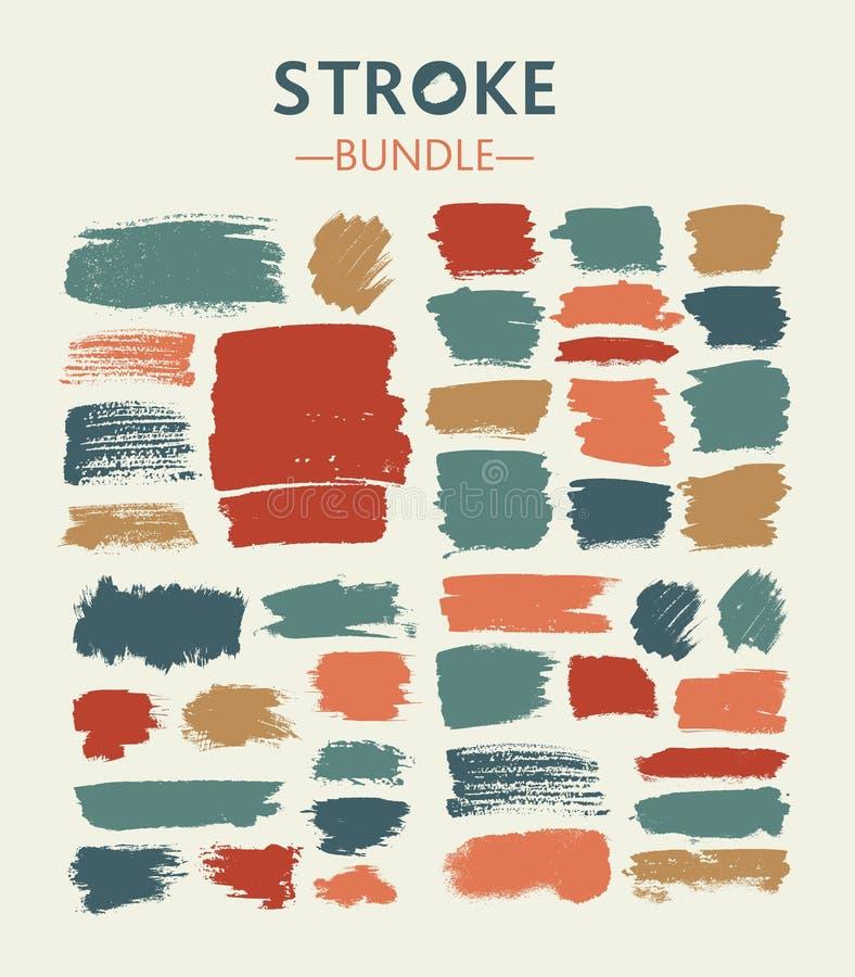 De pastelkleur Voorgestelde borstel en de inkt van borstelslagen stock illustratie