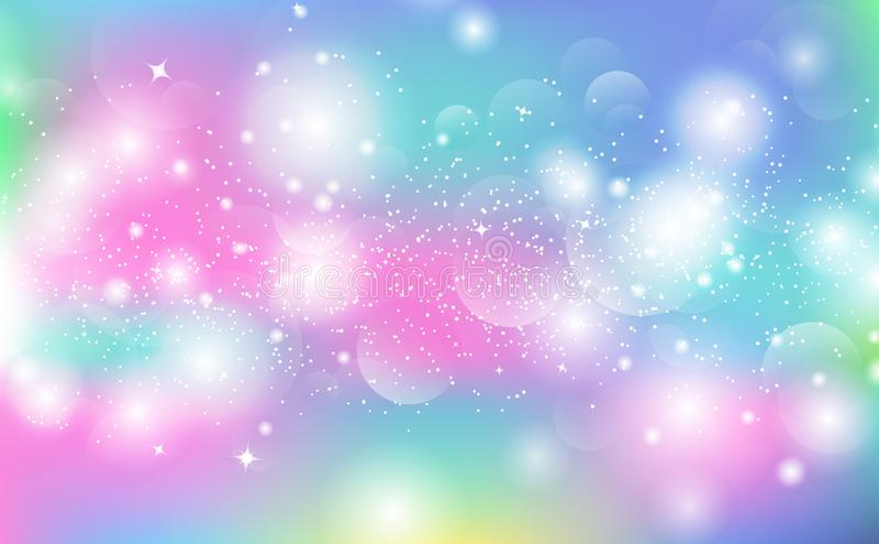 De pastelkleurachtergrond, sterren het gloeien fonkeling schittert, de onscherpe abstracte vector van Bokeh stock illustratie