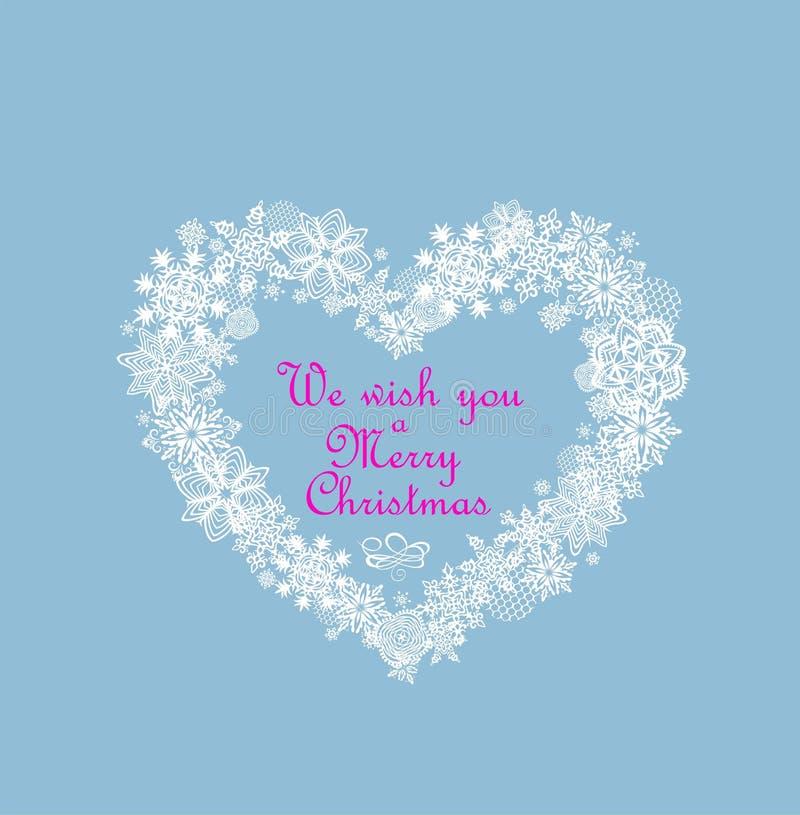 De pastelkleurkaart van de Kerstmisgroet met document verwijderde ambachtsneeuwvlokken in hartvorm stock illustratie