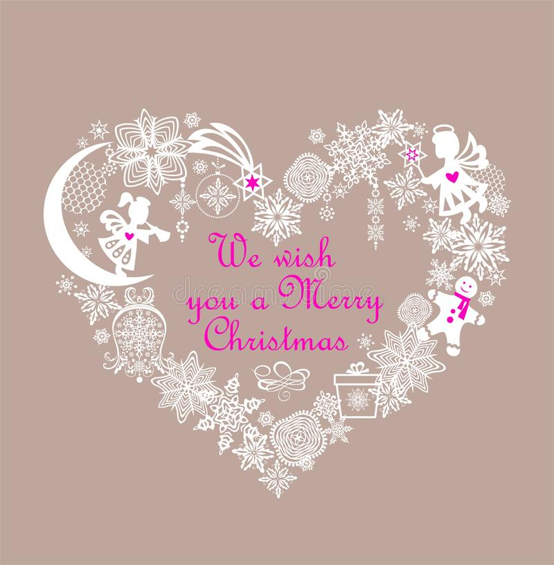 De pastelkleurkaart van de Kerstmisgroet met de vormkroon van het ambacht witte hart met document de klokken van het knipselkenwi royalty-vrije illustratie