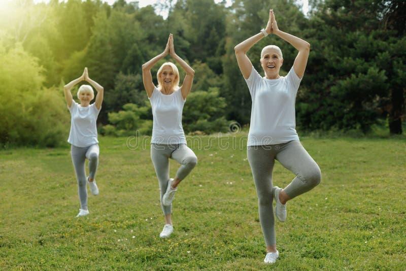De pasvorm retied dames die aan yogaklasse deelnemen stock foto