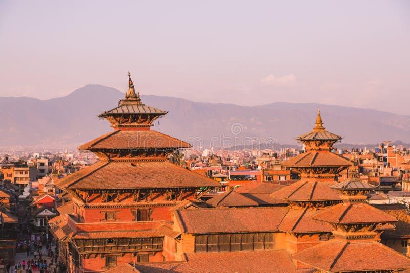 De Patantempel, het Vierkant van Patan Durbar is gesitueerd op het centrum van Lalitpur, Nepal Het is één van de drie Durbar-Vier stock fotografie