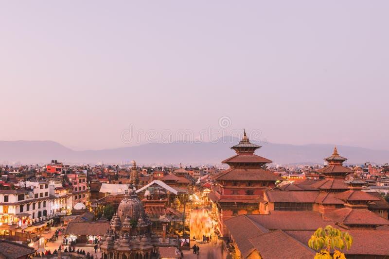 De Patantempel, het Vierkant van Patan Durbar is gesitueerd op het centrum van Lalitpur, Nepal Het is één van de drie Durbar-Vier royalty-vrije stock foto's