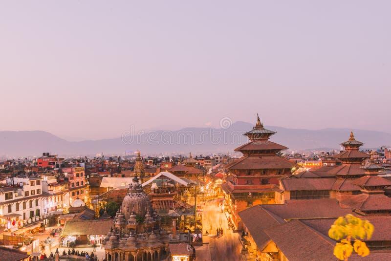 De Patantempel, het Vierkant van Patan Durbar is gesitueerd op het centrum van Lalitpur, Nepal Het is één van de drie Durbar-Vier stock foto's
