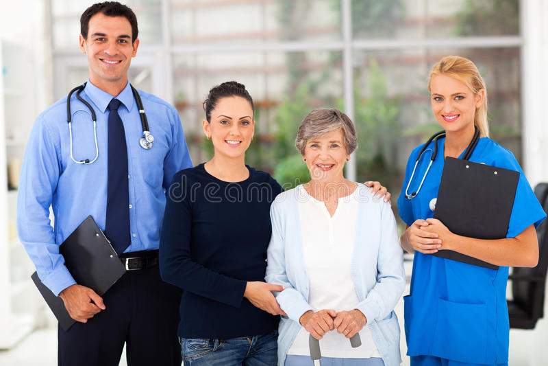 De patiënt van gezondheidsarbeiders royalty-vrije stock fotografie