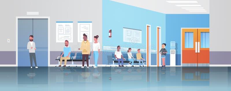 De patiënten die van het mengelingsras in lijn wachten vormen aan het overleg en de diagnose de medische kliniek van het gezondhe stock illustratie
