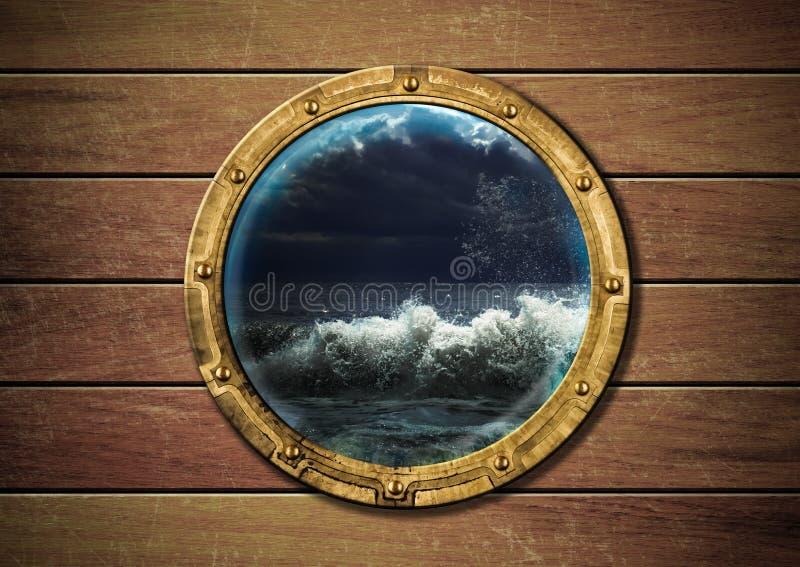 De patrijspoort van het schip met onweer royalty-vrije stock foto