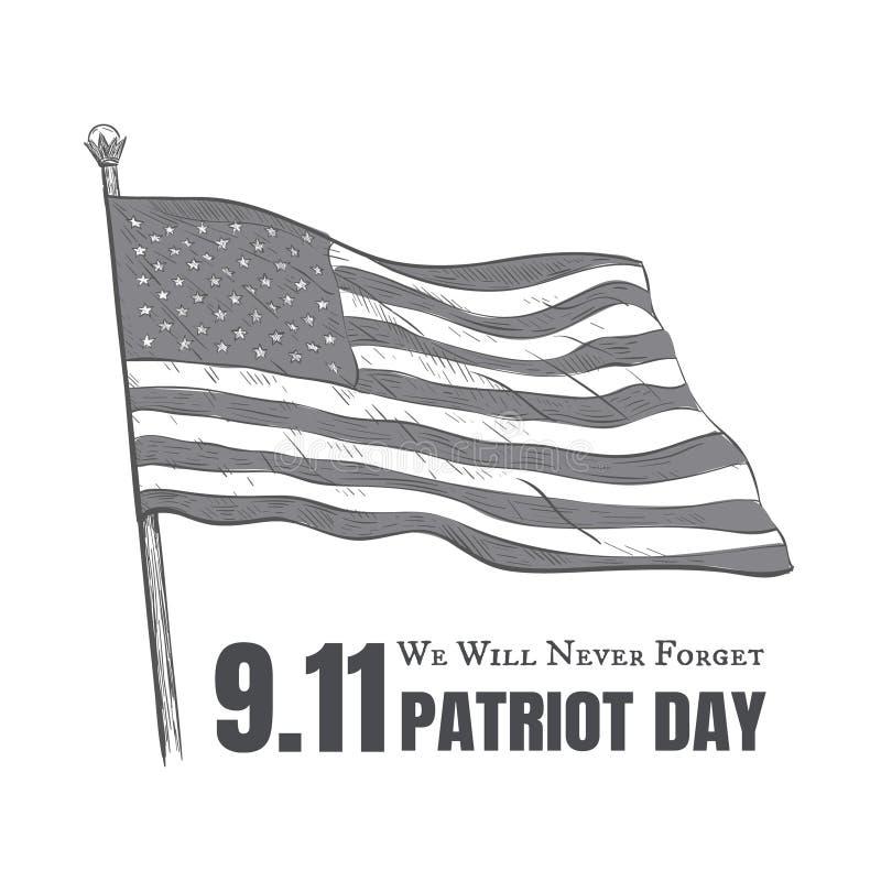 De patriot dag de V.S. vergeet nooit 9 vectoraffiche 11 royalty-vrije illustratie