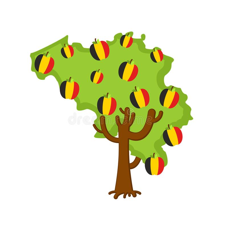 De patriottische kaart van België van de appelboom appelen Belgische vlag genaturaliseerd stock illustratie