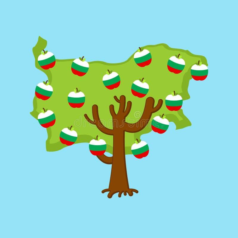 De patriottische kaart van Bulgarije van de appelboom appelen Bulgaarse vlag naturaliseer vector illustratie